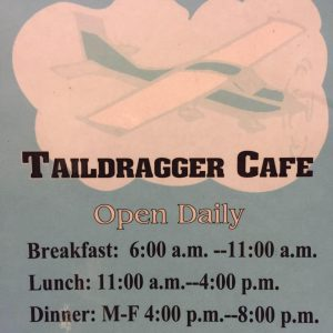 Taildragger Cafe Open Daily for Breakfast Lunch and Dinner