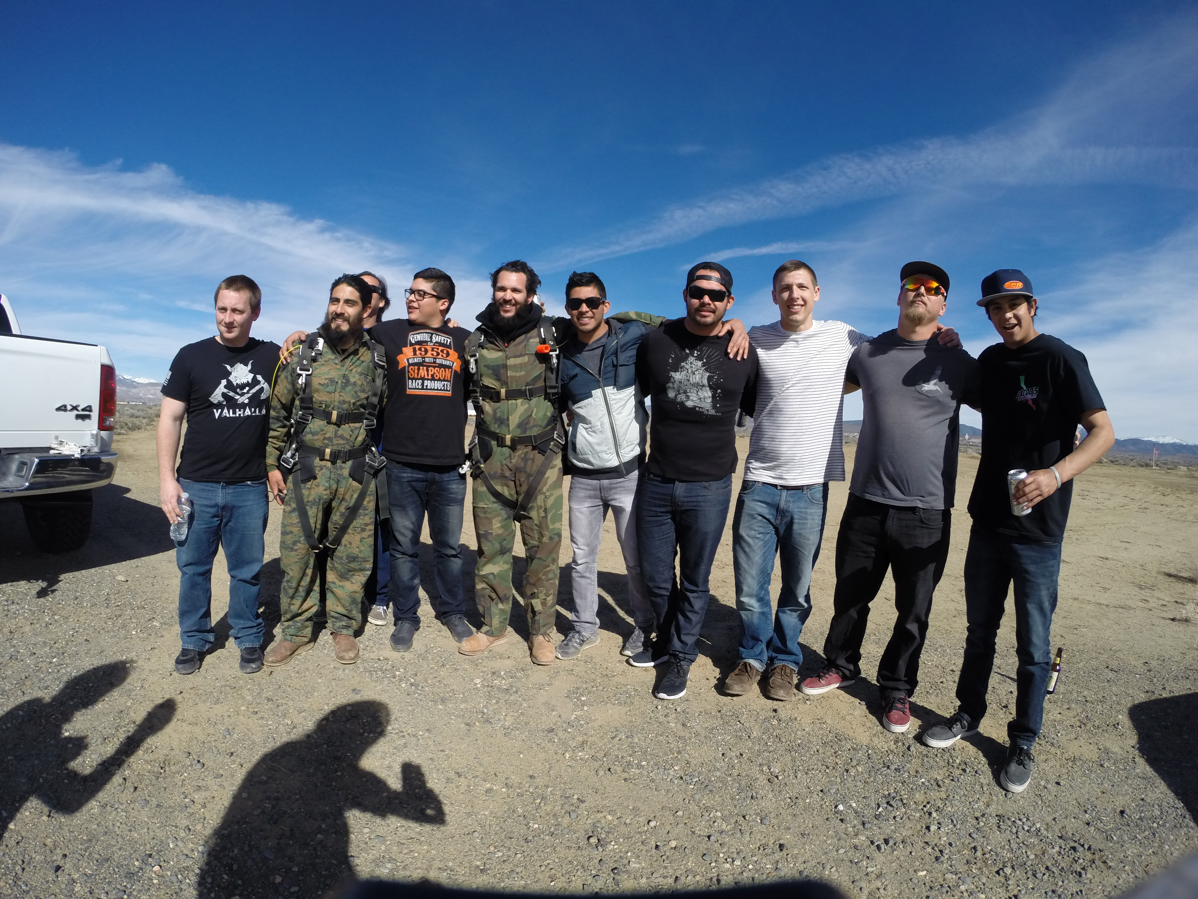 A group of men ready to skydive at Skydive Lake Tahoe
