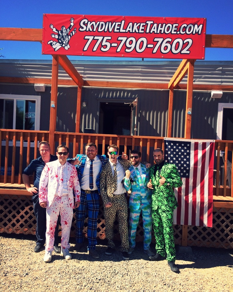 Men dressed in silly suits at Skydive Lake Tahoe
